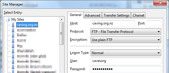 FileZilla site configuration