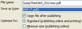Save SumpThink as a PDF document using Word 2007 or later